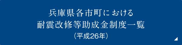 兵庫県各市町における耐震改修等助成金制度一覧