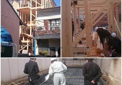 京都府産木材を利用した木造四階建てゲストハウス施工中!